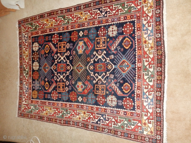 FULL PILE-SIZE 4 X 5 FT- SUPERB COMPLETE ORIGINAL CONDITION-NO REPAIRS/REPILING-LOOK AT MY OTHER RUGS ON EBAY WITH NO RESERVE