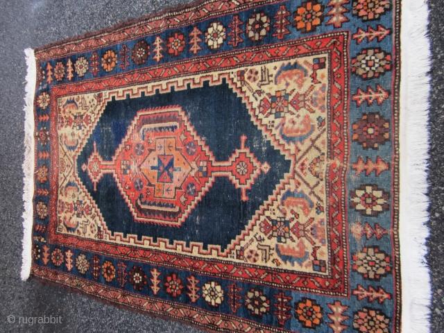 44 x 64 inches  good pile  old hamadan with  folk art interest