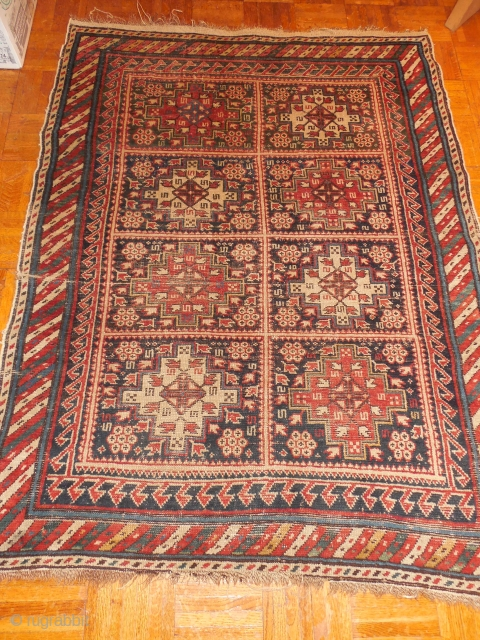 SHIRVAN WITH NICE OLD BORDER -  ORIGINAL CONDITION - NO REPAIRS     COMPLETE SIDES AND ONE END, AND JUST A BIT OD LOSS AT THE OTHER END   3 FT 6   ...