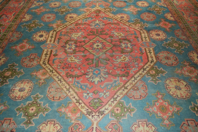 "Antique Ushak Carpet 5.30m x 3.70m (17' 5"" x 12' 2"") with evenly-low pile all over - very acceptable floor condition. Recently acquired from a UK country house in Gloucestershire."