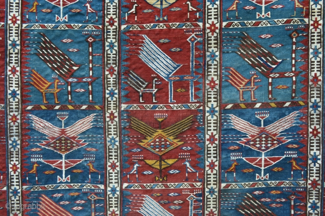 """Fantastic rare Baku Zili in very good condition showing handsome stylised peacocks. 1.90m x 1.30m (6' 3"""" x 4' 3"""")."""