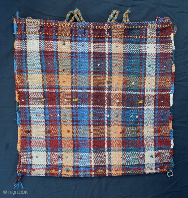 Qashqa'i small, complete storage bag - circa 1900 - woven in twill weave - like tartan! A really charming and unusual tribal bag. Images show front and back. 61cm (2') square.