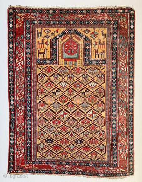 """Magnificent 19th century golden-yellow ground Shirvan prayer-rug.  1.42 x 1.06m (4' 8"""" x 3' 6"""")."""