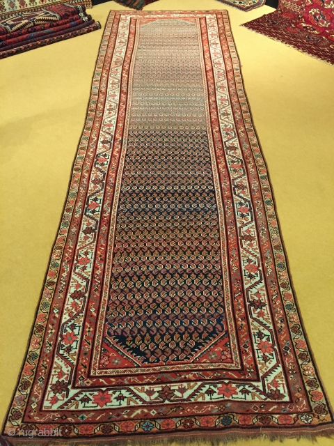 "Varamin Corridor rug 3.83m x 1.15m (12' 7"" x 3' 9"") in good overall condition and nice abrash. Price includes shipping."