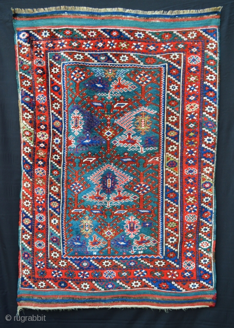 """Stunning Dosmealti rug with turquoise ground, evenly-low pile all over. Extremely visual and attractive rug - 1.78m x 1.17m (5' 10"""" x 3' 10"""")."""