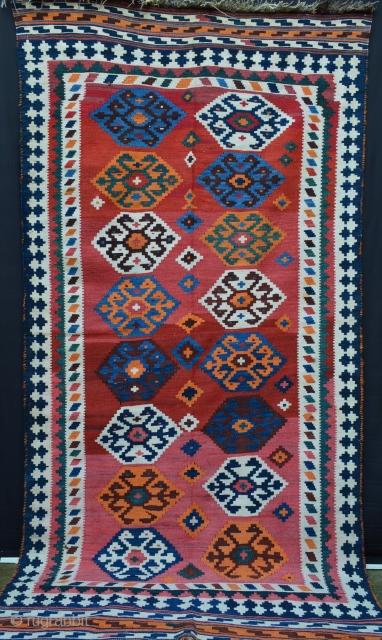 "Qashqa'i Kilim in excellent condition - 2.90m x 1.52m (9' 6"" x 5' 0"")."