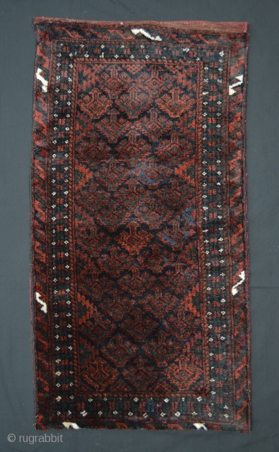Baluch Balisht (pillow-bag), Mushwanni tribes, south-east Persia. Complete with red plain-weave back and in good pile all over bar a couple of tiny re-weaves.