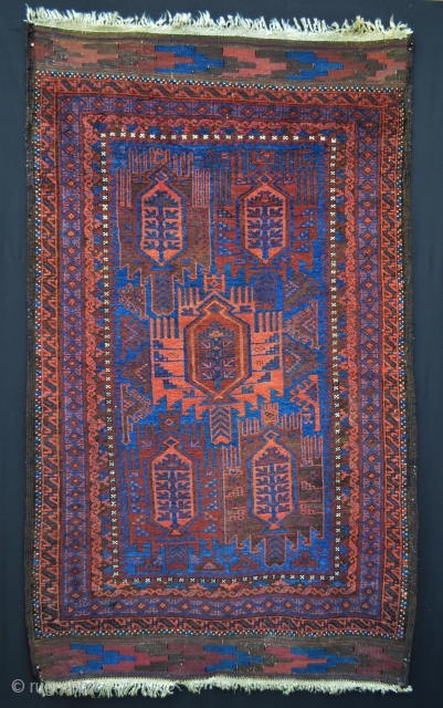 "Glowing Timuri rug in excellent condition - all vegetable dyes - complete flat-woven skirts - 6' 0"" x 3' 7"" (1.83m x 1.09m)."