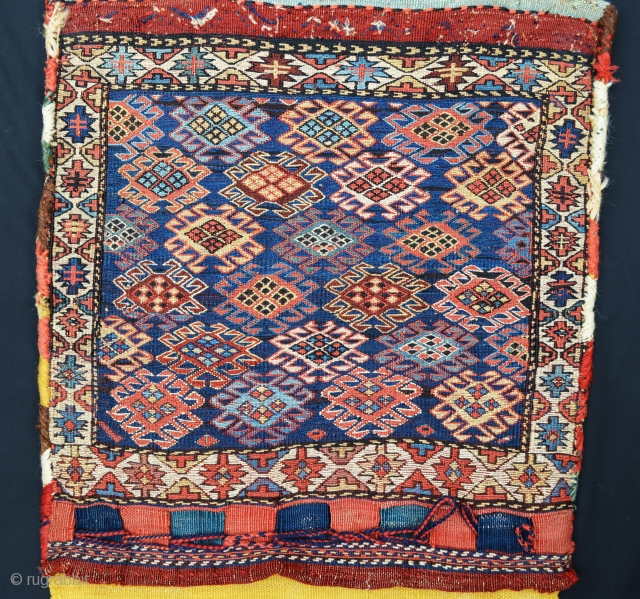 Shahsevan Khorjin - complete with plain-weave back in horizontal bands of different colours. Very good overall condition.