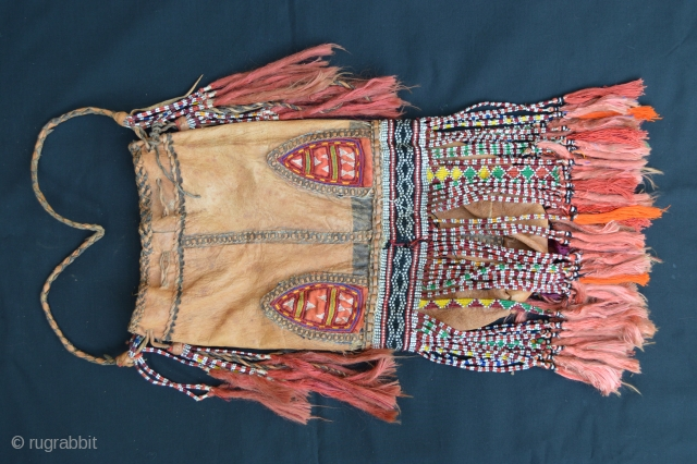 Old Turkmen bag made with animal hide in very good condition.