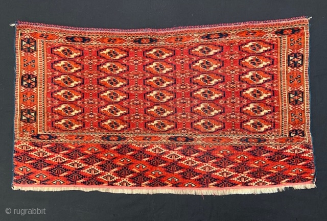 Attractive Teke Turkmen chuval in nice overall condition with replaced selvedges.  