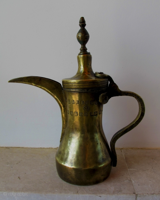 Brass Coffee Pot (Dalla). Dated 1945, Syria.  Made by dalla master maker Ali Daydar and dated 1945 (seal and date on both sides) which corresponds to the French Mandate period. It  ...