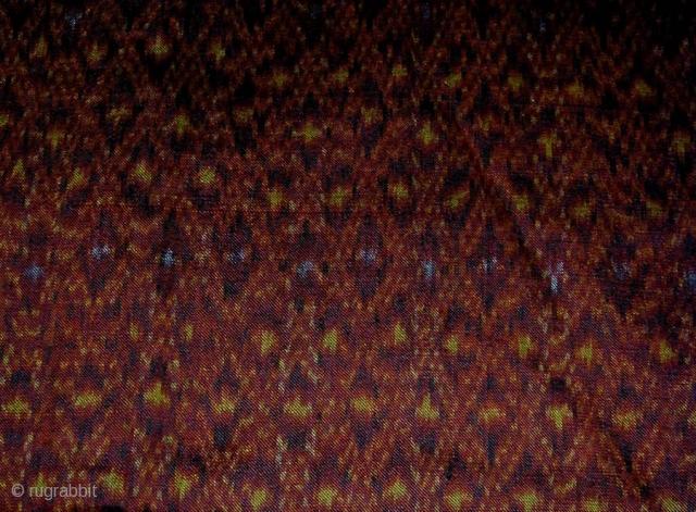 Cambodian Silk Ikat Sampot Hol (Ceremonial Skirt). Circa 1900. 290x89 cms.
