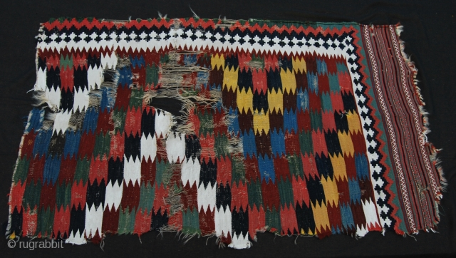 Qashqai kilim fragment. Cm 75x170 ca. Late 19th c. Wonderful colors, Very fine weaving. Simply a great colorful fragment.  Please see also my other posts: http://rugrabbit.com/profile/580