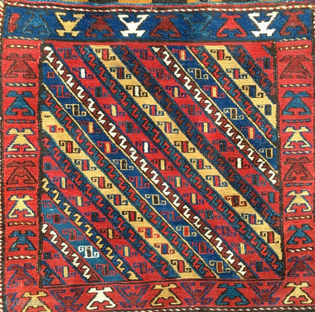Shahsavan Sumack bag. Cm 60x60 ca. End 19h c, early 20h c. Great bag, complete with kilim striped back. Rare, beautiful, collectable.