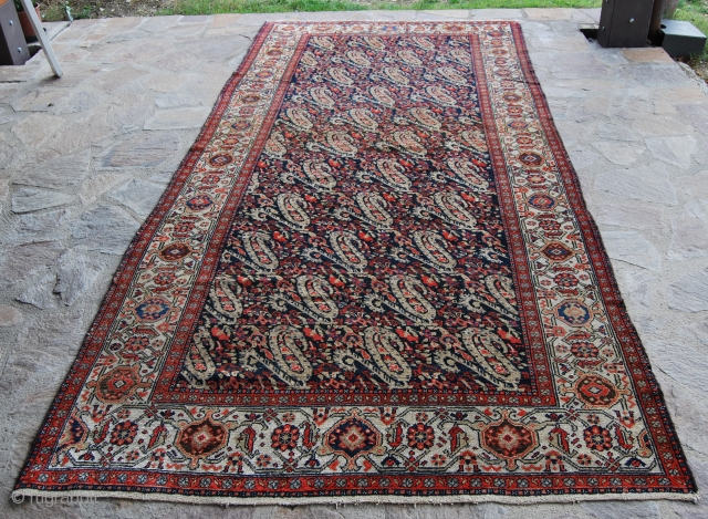 Beautiful Mishan Malayer cm 337x157 or ft 11.0x5.1, end 19th/early 20th century, lovely boteh pattern, good colors & condition, needs smaller restorations.
