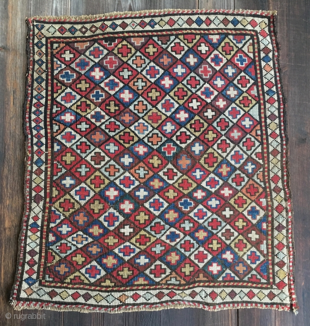 Shahsavan reverse sumack saddle bag face. Fantastic colors. Cm 48x56. 4th q 19th c. Looks like a painting by Pollock! Price reduced for nice people. See more pics on my previous ad:  ...