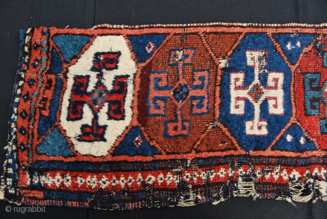 Kurdish rug fragment. Aleppo? Reyhanli? Cm 31x155. Mid 19th century. wonderful colors, great pattern with ram horn medallions. See more pics on my fb page: https://www.facebook.com/carlo.koc/media_set?set=a.10153790251778492.1073741859.579403491&type=1&pnref=story