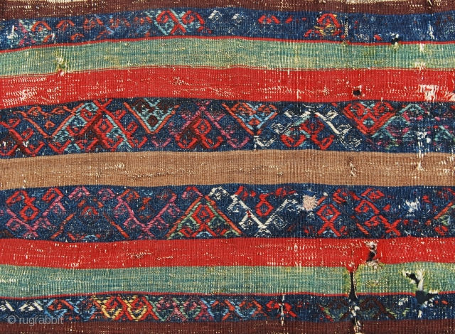 Eastern Anatolia Kilim fragment. Cm 48x68. Second half 19th century. Great colors. Have it mounted professionally and you'll have a masterpiece on your wall. Small, antique, beautiful and cheap (€ 140 +  ...