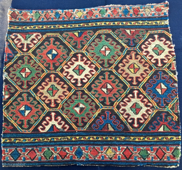 Shahsavan sumack mafrash panel. Cm 44x46. Imho 1840/1860. Deeply saturated colors, see the yellows, see the greens....etc….. Simple but sophisticated design. See the details,  the back...! Simply wonderful. One of the  ...