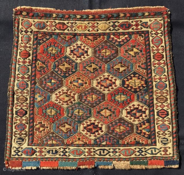 Shahsavan Moghan Savalan reverse sumack khorjin bag face. Cm 46x51 or in 18x20 ca. Datable 1870/1880. Beautiful, bold pattern, tight weave, lovely, natural, saturated dyes. Some fuchsine confirms dating. Fuchsine was discovered  ...