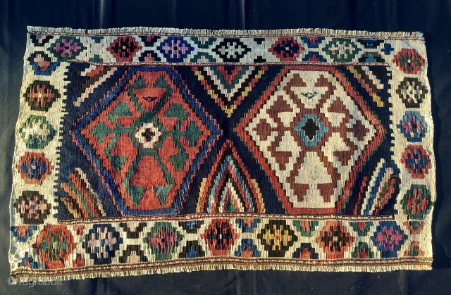 Caucasian, most probably Kazak flat weave mafrash long panel. Cm 58x98. 100 years + old. All kind of natural saturated colors. In very good condition.