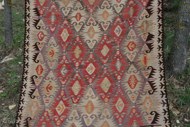 Mut or Yahyali? kilim. Central Anatolia. Cm 360x130 ca. Early 20th century. Lovely, soft texture. Dark brown redone some time ago most probably due to oxidation. Good condition. See more pics on  ...