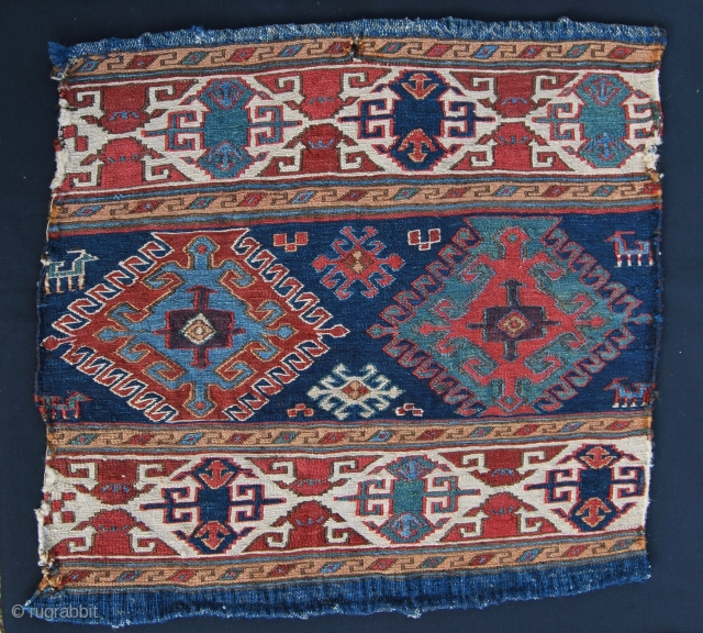 Shahsavan sumack mafrash end panel. Pre 1850/mid 19th c. Wonderful saturated colors,…. a great aubergine!……lovely pattern, very fine weaving, good condition. A real color wonder.