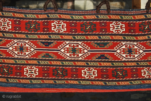 "Karabagh Sumack Mafrash. Complete. Mint condition. Great age. Great saturated colors. Wonderful design. More pics on rq. Last chance to own such a wonder! An almost identical piece appears in ""Sumack bags""  ..."