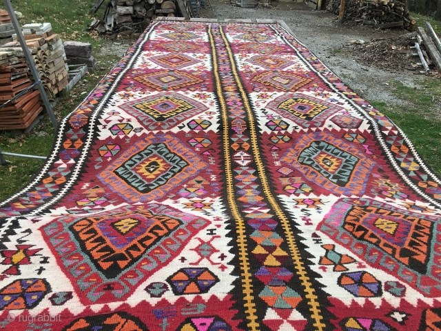 Kars area kilim, Eastern Anatolia, Turkey, cm 430x150, beautiful, long piece, early 20th century, in good condition. Clearance of big sizes: this is one of the many pieces that must go. Price  ...