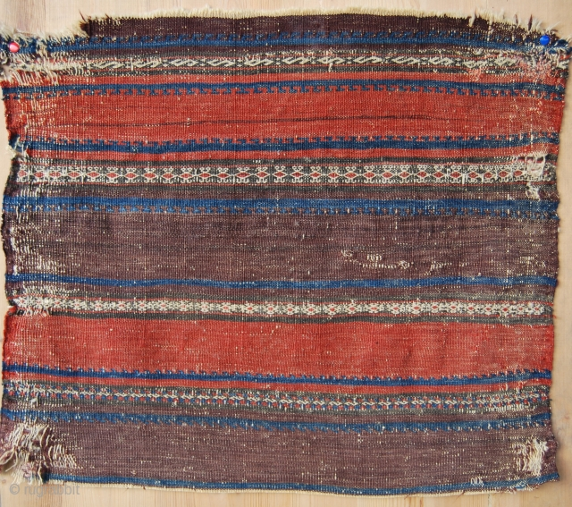 Baluchi khorjin back fragment. Kilim, great colors, cm 50x58, very sweet, early 20th cent or earlier. See more pics here: https://www.facebook.com/media/set/?set=a.10152424829344258.1073741928.358259864257&type=3