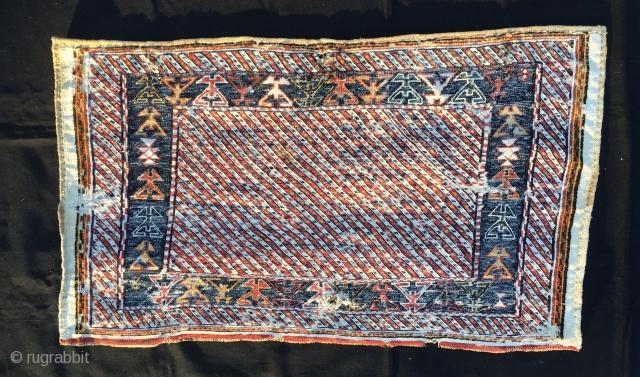 Modern painting? Pollock? Frank Stella? Bakhtiari! Lovely modern abstract painting by the Bakhtiari tribal group. This is a wonderful sumack mafrash long panel. Cm 62x112 ca. End 19th/early 20th c. Warp/wool, Weft/cotton.  ...