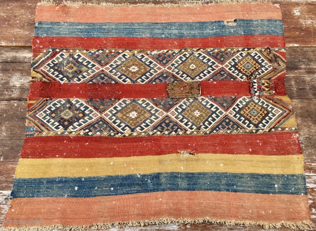 That's it! A glorious East Anatolia cuval/storage bag. Cm 112x134. Easily datable to 1880s if not much earlier as somebody said. Great, awesome, super colors. In the center you can see two  ...