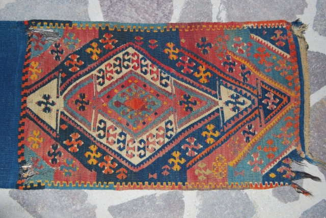 Antique Anatolian Yastik, most probably from Malatya area. Closed size is cm 50x83, open is cm 50x166. Datable to the end of the 19th century or the beginning of the 20th. I  ...