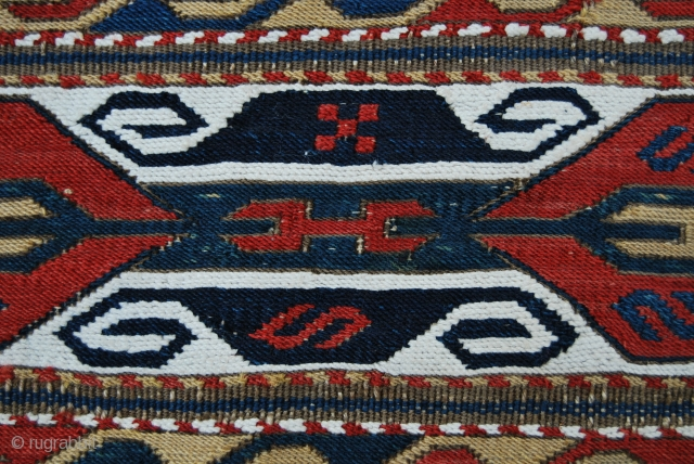 "Karabagh (not Shahsavan!) mafrash side panel. Cm 44x98. Second half 19th century. Very fine weave, lovely saturated colors, great pattern. See John Wertime ""SUMAK BAGS"", page 177 for a similar piece.