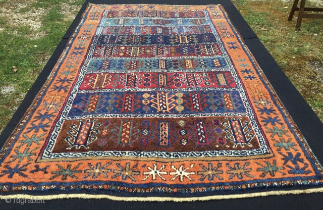 """Antep, south-east Anatolia. Kurdish rug, probably Reyhanli tribal group. Cm 105x180 ca. Late 19th century. All incredibly beautiful natural dyes. In very good condition. A good luck/long life rug filled with """"hayat  ..."""