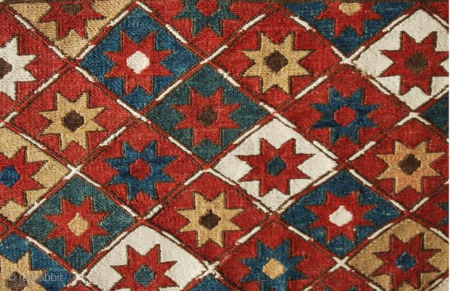 Shahsavan Star sumakh mafrash end panel. Cm 44x56 ca. end 19th century. Great dyes. Sim ply beautiful. Good condition.