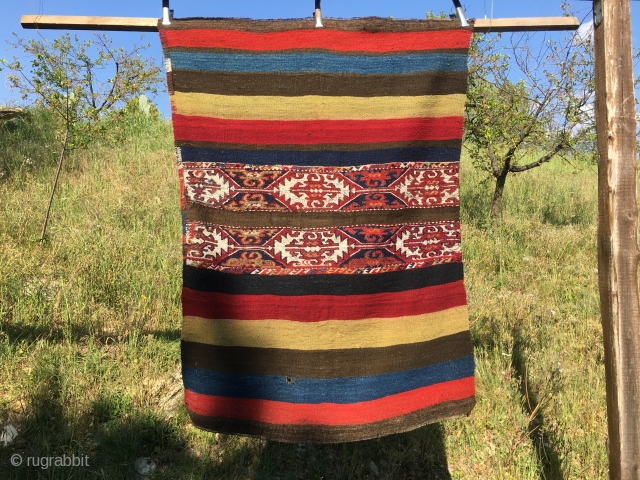 Wonder East Anatolian Cuval. Cm 110x150 ca. End 19th c. Fantastic colors. In very good condition. Shot the back side in full sun.