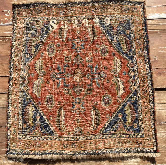 Qashqai pile khorjin bag face. Cm 60x64 ca. 1890/1910. Beautiful, proportioned, interesting. Natural dyes. In good condition. The numbering on the back might be either the cataloging of the Perez gallery in  ...
