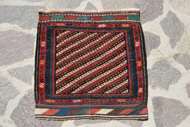 Kurd khorjin bag face. Pile & kilim ends. Size is cm 60x60. Elegant, diagonal striped pattern. Good colors. End 19th, early 20th century ca. Good condition. Not expensive. Paypal welcome. Se more  ...