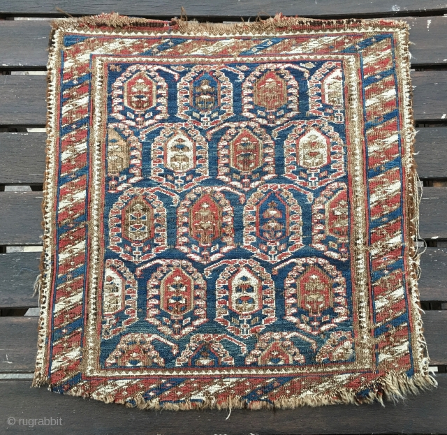 Caucasian sumack bag face. Cm 45x48. Mid 19th c. Damaged, worn out, but beautiful, rare, with great pattern and fantastic dyes.