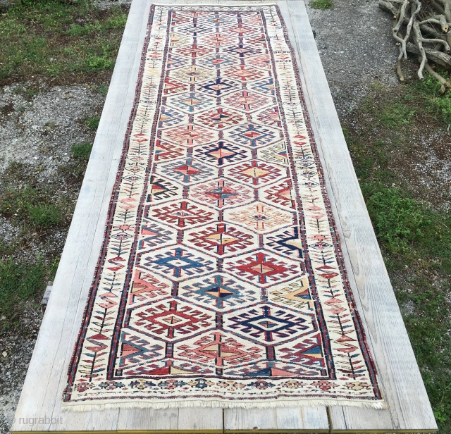Shahsavan sumack on cotton basis runner. Cm 90x290 ca. Second half 19th century. As far as I know it's extremely rare. Beautiful and in good condition. More pics & infos on rq.