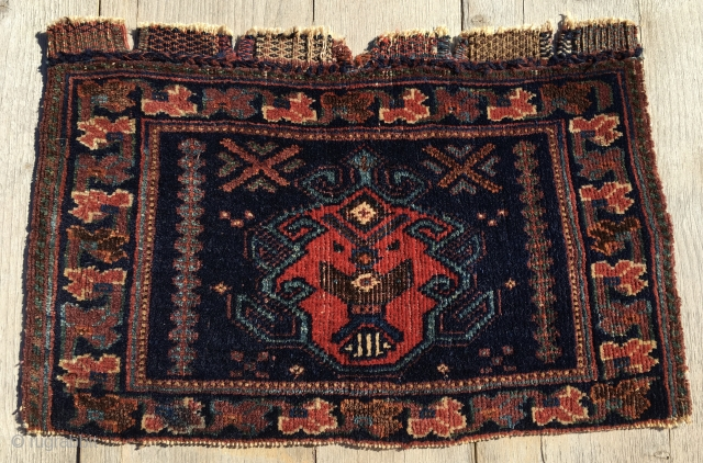 Afshar bag face. Cm 33x51. End 19th c. All natural dyes. Lovely, small & beautiful. Outstanding piece. Ex collection of Bertram Frauenknecht.