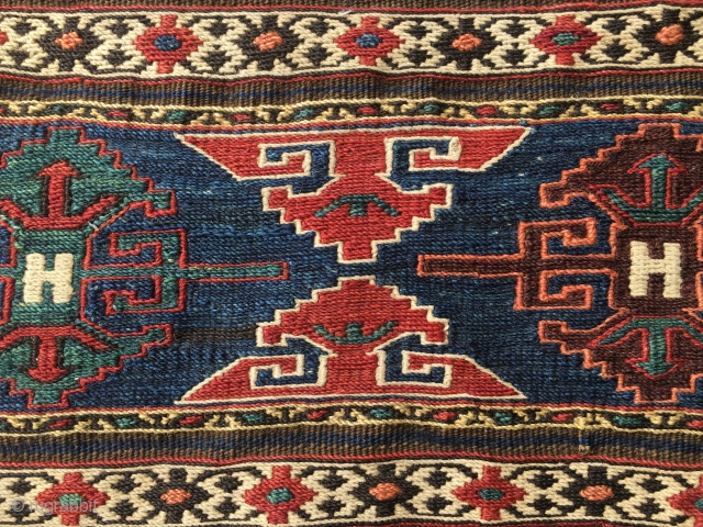 Eagles. Shahsavan sumack mafrash end panel. End 19th, early 20th c. Great pattern great colors, great condition. Ask 4 more pics & infos