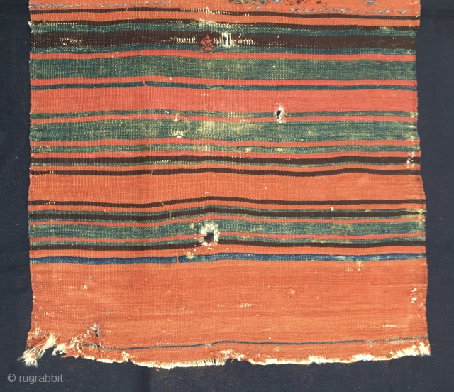 Bergama area orange and green cuval/storage bag back face. Cm 61x112. Orange and green are simply fantastic. Wear, holes, tears, stains.....do not decrease the beauty of this tribal art example. Wreck for  ...