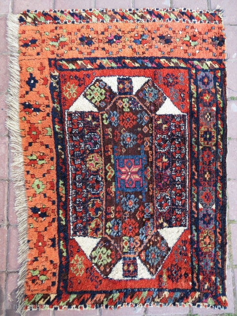 Antep Kurd rug fragment. Cm 86x114. 3rd q 19th c. Fantastic colors. Full pile. One of the best fragments I've ever encountered. Colors are even better then in pics…… It's, imho, one  ...