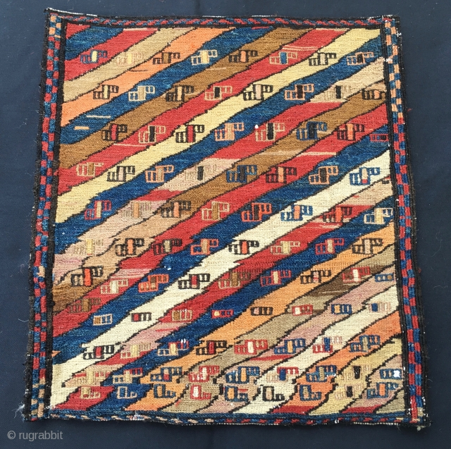 Beautiful sumack bag face. Cm 36x39. Early 20th century. Most probably Shahsavan. Imho it might have been reduced and some colors might not be natural. In any case a real beauty: antique,  ...