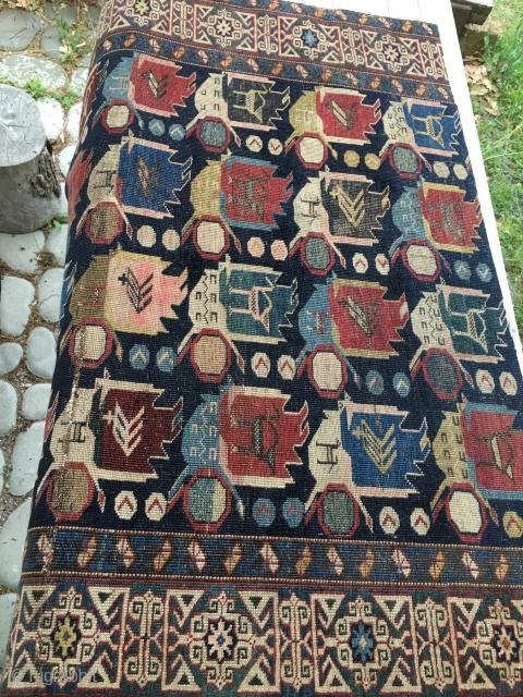 Shirwan Kuba rug fragment. Unlucky, flooded rug, but still powerful.