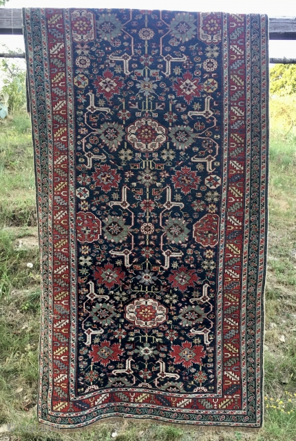 Afshan Kuba long rug. Cm 123/126x266. Wonderful masterpiece. Great design, great colors, great condition. Minor condition issues to report. Needs a good wash. Hurry up for a better price.