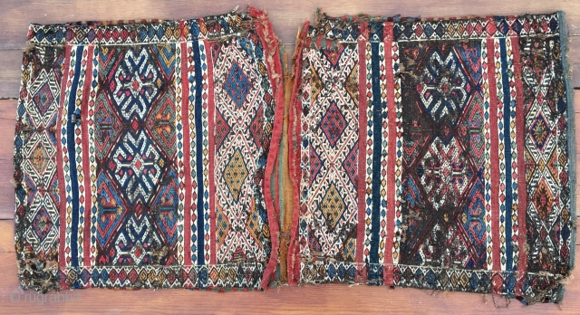 East Anatolian zili saddle bag. 1st h 19th c. Wonderful, charming, wrecked East Anatolian heybe/saddle bag. Size is cm 68x136, open 68x270 ca. First half 19th century. Imo from Adiyaman, south of  ...